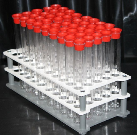 25 ml Tubes with Black Over-caps and Tray.